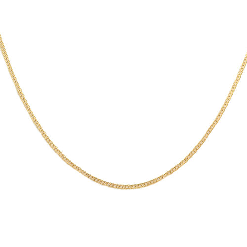 Italian Made - 9K Yellow Gold Fancy Curb Necklace (Size 18)