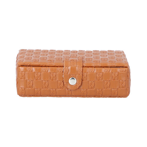 Brown Woven Pattern Jewellery Box with Mirror and Button Clasp Lock (14x8x4.2cm)