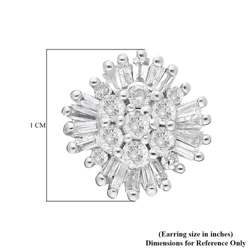 9K White Gold SGL Certified Natural Diamond (I3/G-H) Stud Earrings (with Push Back) 0.50 Ct.