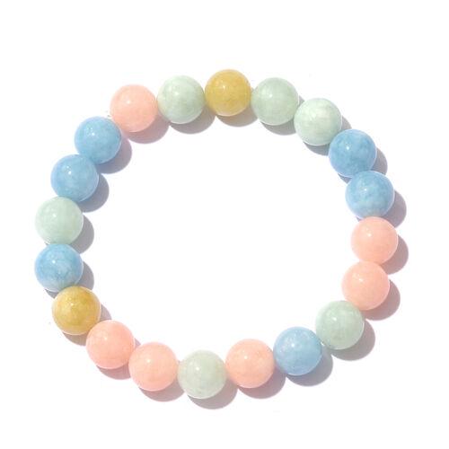 Multi Aquamarine Ball Beads Strechable Bracelet (Size 7) 140.000 Ct