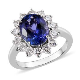 RHAPSODY 950 Platinum AAAA Tanzanite (Ovl 10x8 mm, 3.00 Cts), Diamond (VS/E-F, 1.00 Cts) Ring