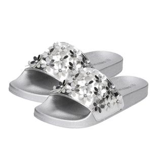 Comfortable Women Flower Slider in Silver
