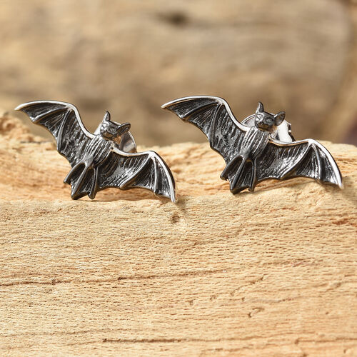 Platinum Overlay and Black Plating Sterling Silver Bat Earrings (With Push Back)