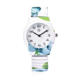 STRADA Japanese Movement Blue Floral Pattern Water Resistant Watch with Stretchable Strap (Size 6.5-
