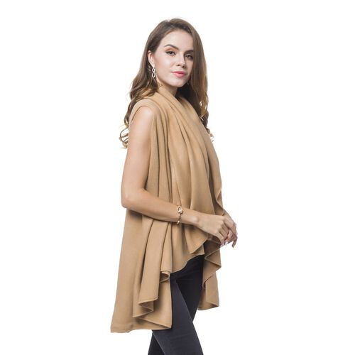 Coffee Colour Fold Over Collar Cape (Free Size)