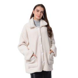 New Season - Designer Inspired - Teddy Faux Fur Coat (Size XL/14-16) - Off White