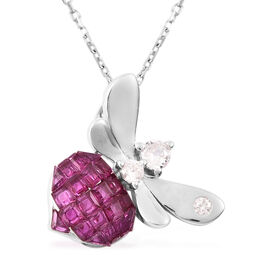 Lustro Stella Simulated Ruby and Simulated Diamond Beetle Pendant with Chain (Size 18) in Rhodium Ov