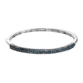 1.51 Ct Blue Diamond Stacker Bangle in Platinum Plated Silver 15.17 Grams 7.5 Inch