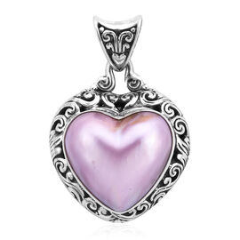 Royal Bali Collection - Pink Mabe Pearl Heart Pendant in Sterling Silver, Silver wt 6.99 Gms