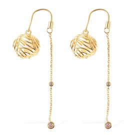 Isabella Liu Sea Rhyme White Mother of Pearl and Zircon Designer Earrings in Gold Plated Silver