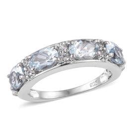 Espirito Santo Aquamarine (Ovl), Natural Cambodian Zircon Ring in Platinum Overlay Sterling Silver 1