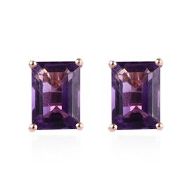 Amethyst (Oct) Stud Earrings (with Push Back) in Rose Gold Overlay Sterling Silver 2.000 Ct.