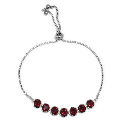 J Francis Ruby Colour Crystal from Swarovski Bolo Bracelet in Platinum Plated 6.5 to 9.5 Inch