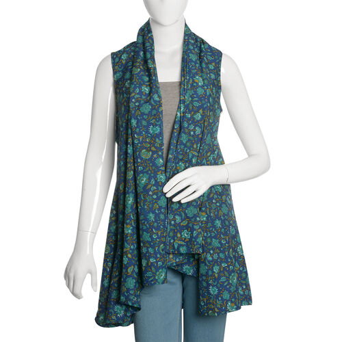 Multi Colour Floral and Leaves Pattern Blue Colour Sleeveless Apparel (Size 80x60 Cm)