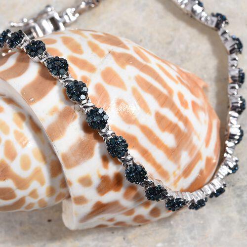 Blue Diamond (Rnd) Bracelet (Size 7.5) in Platinum Overlay Sterling Silver 2.500 Ct, Silver wt 13.13 Gms, Number of Diamonds 196