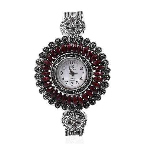 STRADA Japanese Movement Water Resistant Watch with Studded Grey Austrain Crystal, Simulated Red Garnet Stone and Antique Silver Alloy Strap in Silver Plated.
