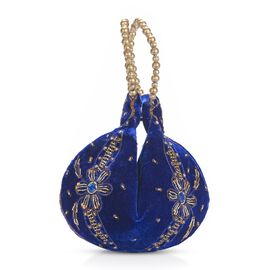Weaved Embellishment Velvet Potli Bag (Size 16.51x24.13 Cm) - Royal Blue
