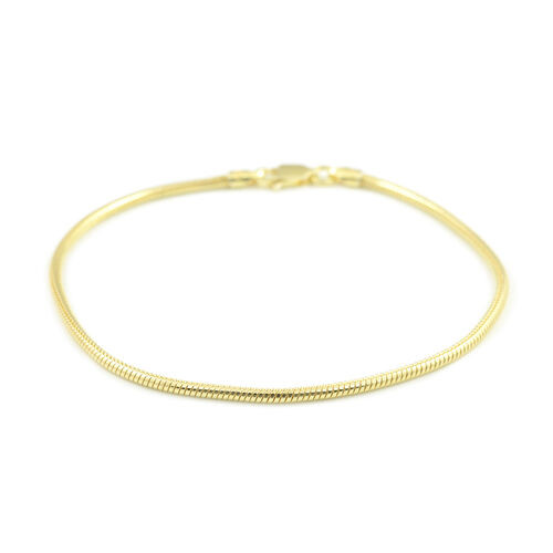 Italian Close Out- Yellow Gold Overlay Sterling Silver Snake Bracelet (Size 7.5)