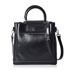 100% Genuine Leather Black Colour Tote Bag with Detachable Shoulder Strap (Size 27x12x28 Cm)