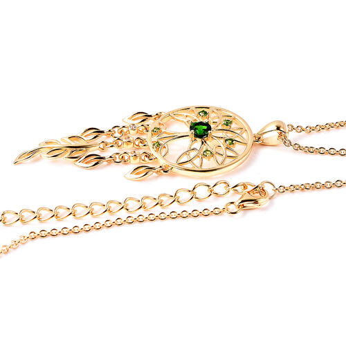LucyQ Russian Diopside (Rnd), Natural Cambodian Zircon Dream Catcher Pendant with Chain (Size 16 with 4 inch Extender) in Yellow Gold Overlay Sterling Silver