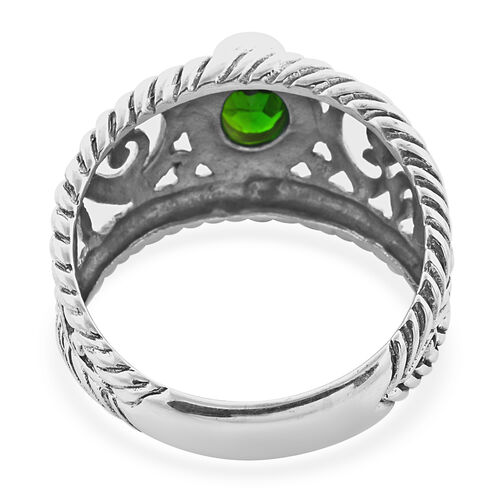 Royal Bali Collection - Russian Diopside Filigree Ring in Sterling Silver 1.40 Ct, Silver wt 5.30 Gms