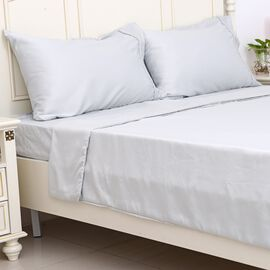 Double Size Set of 4- French Grey Colour Matt Satin Duvet Cover (Size 200x200 Cm), Fitted Sheet (Size 190x140x30 Cm) and 2 Pillow Cases (75x50 Cm)
