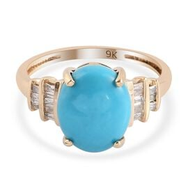 9K Yellow Gold Arizona Sleeping Beauty Turquoise and Diamond Ring 3.00 Ct.
