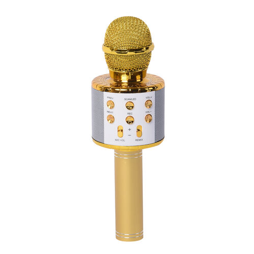 Smart Karaoke Mic with Multi Features in Golden Colour