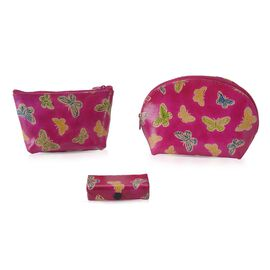 3 Piece Set - 100% Genuine Leather Handmade and Painted Butterfly Pouch (12x3.5x9 Cm), Round Pouch (