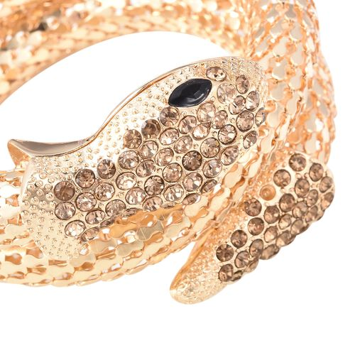 Champagne Austrian Crystal and Simulated Black Spinel Snake Bracelet (Size 7.5) in Yellow Gold Plated