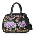 Black and Multi Colour Floral Embroidered Tote Bag with Detachable Shoulder Strap and Zipper Closure