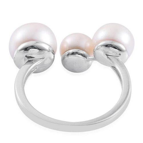 Fresh Water Pearl (Rnd 4.75 Ct) Ring in Platinum Overlay Sterling Silver 9.250 Ct.