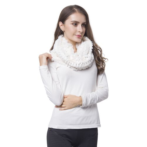 Off White Colour Sequins Embellished Faux Fur Scarf (Size 80X20 Cm)