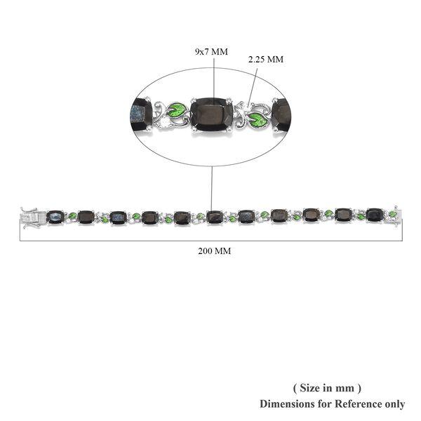 Elite Shungite (Cush), Natural Cambodian Zircon Enamelled Bracelet (Size 7.5) in Platinum Overlay Sterling Silver 14.50 Ct, Silver wt 17.90 Gms