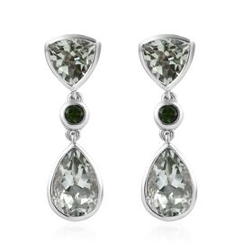 9.25 Ct Prasiolite and Russian Diopside Drop Earrings in Platinum Plated Silver 5.60 Grams