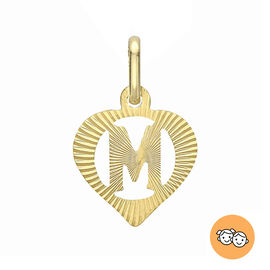 Children Diamond Cut M Initial Heart Pendant in 9K Gold
