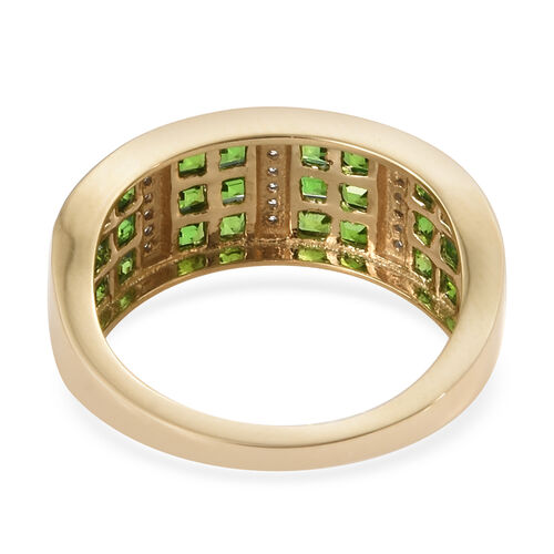 New York Close Out- 14K Yellow Gold AAAA Princess Cut Russian Diopside and Diamond Ring  1.350  Ct.