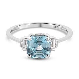 9K White Gold Ratanakiri Blue Zircon and Natural Cambodian Zircon 2.90 Ct.