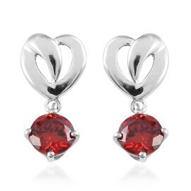 ELANZA Simulated Red Diamond (Rnd) Earrings in Platinum Overlay Sterling Silver