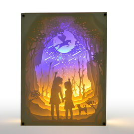 (Option 2) Home Decor - Fairy Tale Lighting with Paper Cut 3D Two Children Motif (Size 20.8x15.8x4.2 Cm)
