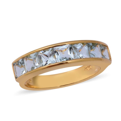 2.03 Ct Espirito Santo Aquamarine Half Eternity Band Ring in Gold Plated Sterling Silver