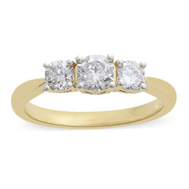 ILIANA 1 Carat IGI Certified 3 Stone Diamond Ring in 18K Gold 3.10 Grams