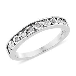 Designer Inspired- Diamond (Rnd) Half Eternity Band Ring in Platinum Overlay Sterling Silver 0.100 Ct