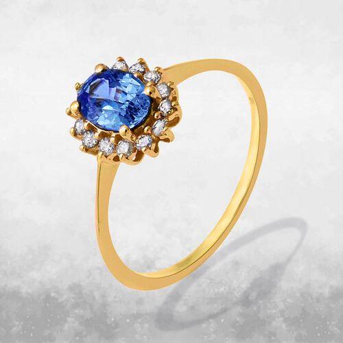 9K Yellow Gold AA Royal Ceylon Sapphire and Diamond (I3/G-H) Ring 1.24 Ct.