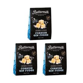 Buttermilk 3 x 150g Cornish Gin Fudge Sharing Box