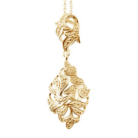 Designer Inspired- Diamond (Rnd) Pendant With Chain in 14K Gold Overlay Sterling Silver
