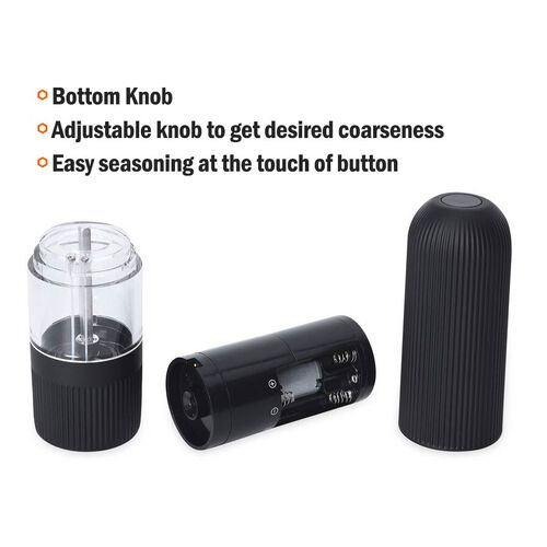 Set of 2 - Gravity Pepper Mill (Size 5.3x20.5 Cm) (6xAAA Battery not Included) - Black and White