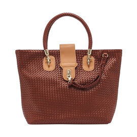 Cross Weave Pattern Tote Bag (Size 31x15x30 Cm) - Beige and Light Brown