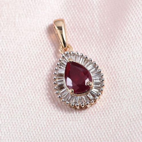 9K Yellow Gold AA African Ruby (Pear), Diamond Pendant 1.250 Ct.