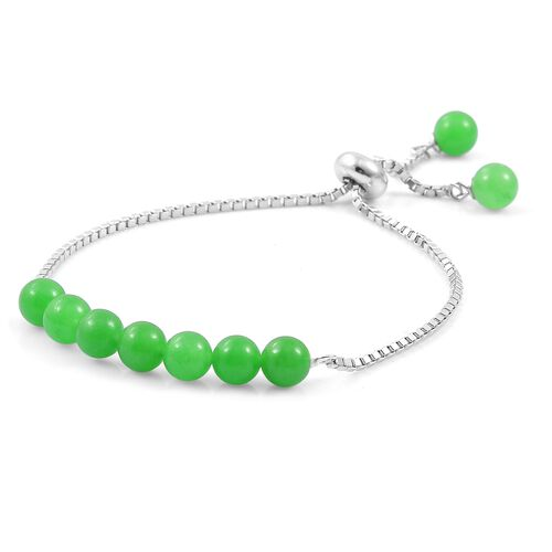 Green Jade Ball Beads Bolo Bracelet (Size 6.5 to 7.5) in Rhodium Plated Sterling Silver 17.420 Ct.